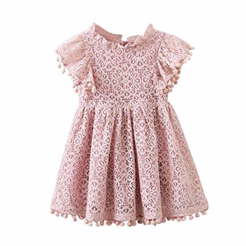 Squarex Robe de princesse avec imprimé floral en dentelle creuse pour bébés et petites filles 6 ans rose