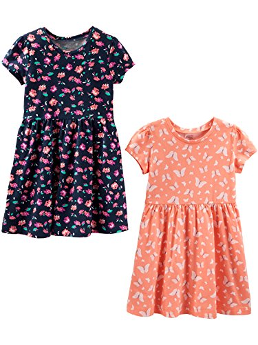 Simple Joys by Carter's 2-Pack Short-Sleeve and Sleeveless Dress Sets Robe Casual, Floral/Butterfly, 3T, Lot de 2