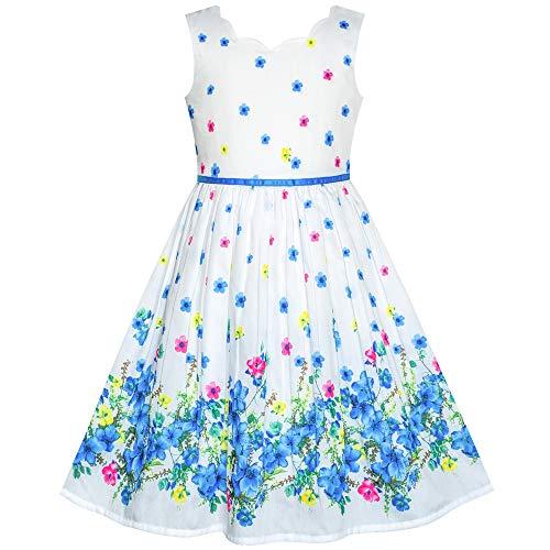 Sunny Fashion Robe Fille Bleu Fleur Pétale Été Robe d'été 12 Ans,12 ans,Bleu-Bleu et Blanc