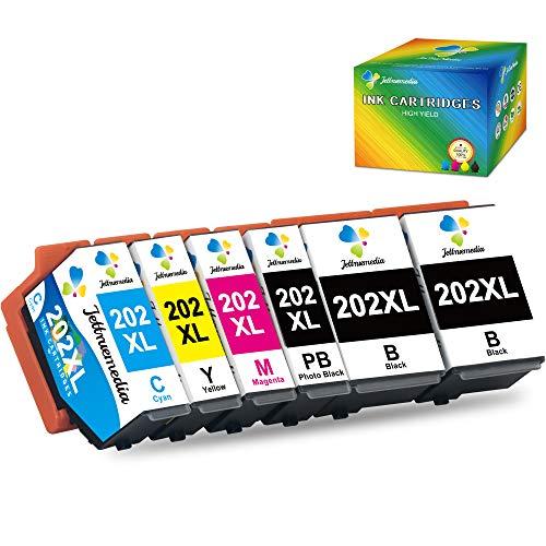 Jettruemedia 202XL Cartouche d'encre Compatible pour Epson 202XL 202 XL Cartouche d'encre Compatible avec Epson Expression Premium XP-6100 XP-6105 XP-6000 XP-6005 XP 6000 XP 6005 Imprimantes