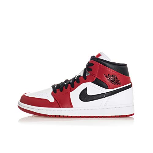 Nike AIR Jordan 1 Mid (GS), Chaussure de Basketball, White Gym Red Black, 39 EU
