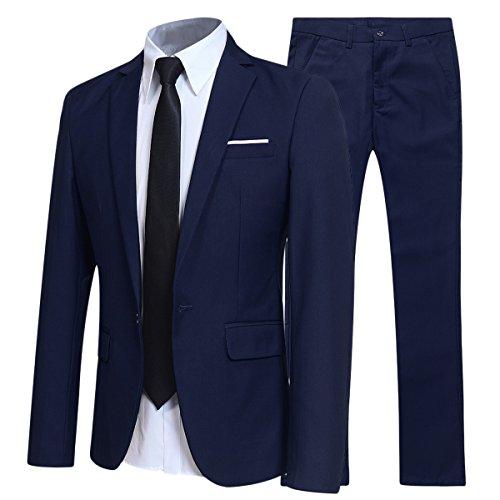 Costume Homme d'affaire en cérémonie Mariage Veste et Pantalon Deux pièce Slim fit,Bleu Marine,L