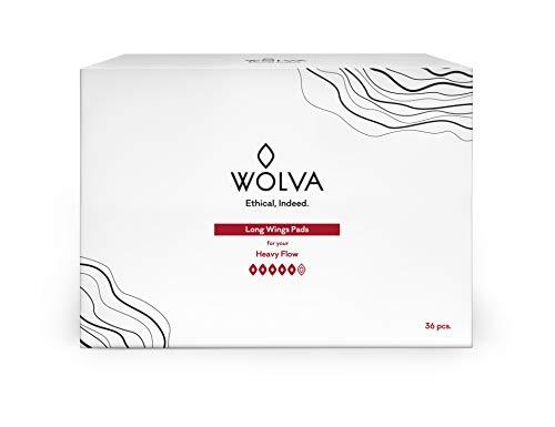 WOLVA Long serviettes hygiéniques écologiques avec ailettes, coton biologique, biodégradables, émissions négatives de CO2, 36 pièces