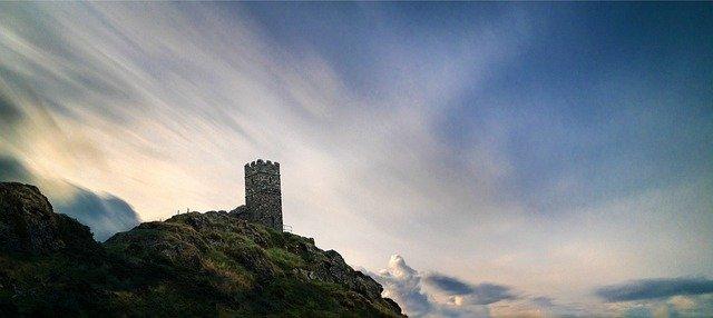 château, colline, ruines