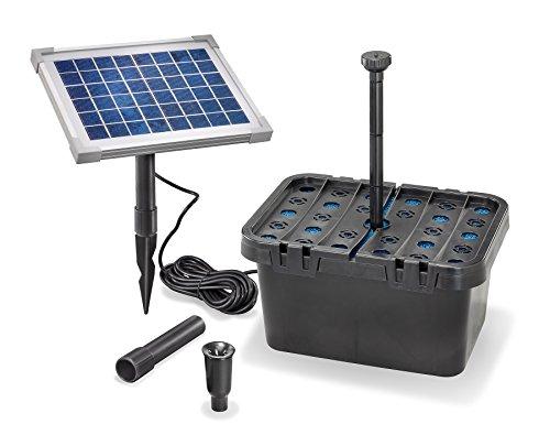Kit filtre de bassin à énergie solaire - Capacité 470litres / heure - Panneau solaire 5W - Pour bassin jusqu'à 4000 litres - 101065