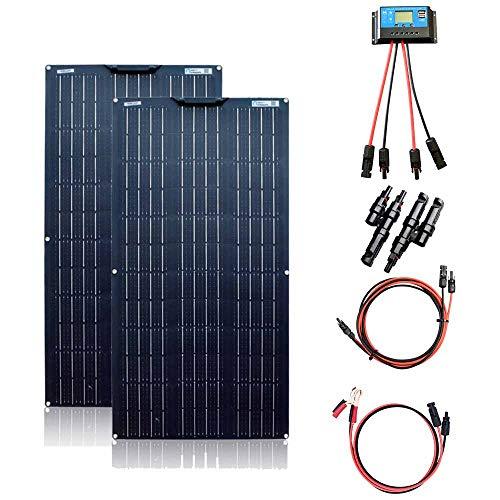 XINPUGUANG Kit de Panneaux solaires 200 W 2 pièces 100 W 18 V Module Solaire monocristallin Flexible pour Camping-Car, Bateau, Tente, Voiture, remorque, Batterie 12 V