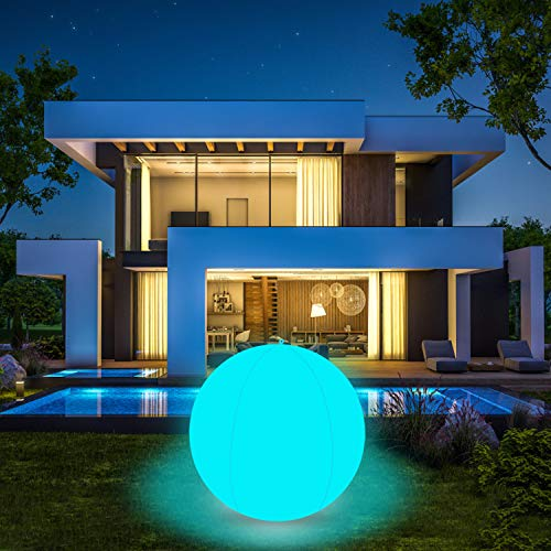 Coolwest Éclairage pour piscine flottant 40 cm 16 couleurs RGB LED Ball Lumière étanche IP68 Éclairage de piscine Éclairage extérieur pour bassin piscine fête décoration (1 pièce)