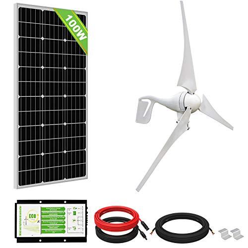 ECO-WORTHY Kit Éolien Solaire 500W 12V: Générateur d'Éolienne 400W + Panneau Solaire Monocristallin 100W pour la Maison/Ferme/Système Hors Réseau