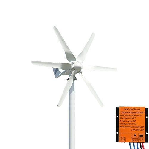 FLTXNY Power Éolienne 800 W 24 V Haute efficacité Utilisation domestique Kit de générateur éolien horizontal 6 lames en fibre de nylon 58 cm avec contrôleur de charge MPPT …