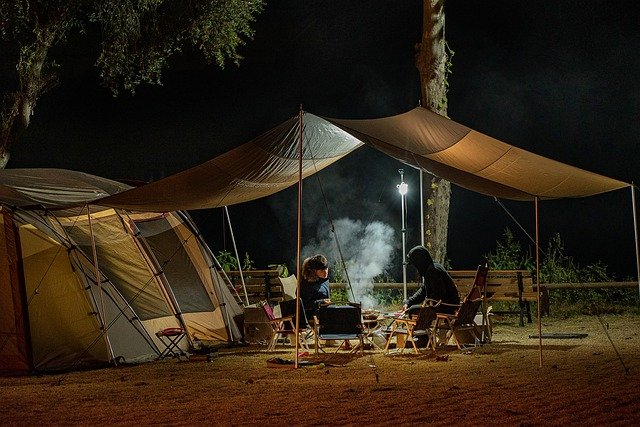 personnes, camping, tente