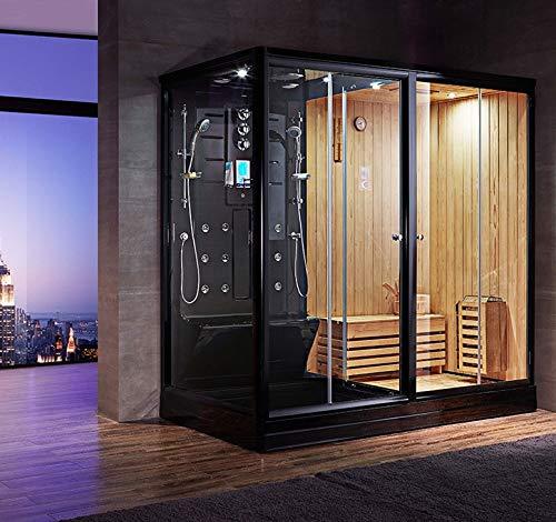 Combi Sauna Douche Hammam Boreal® SH220-D Black Edition - droite