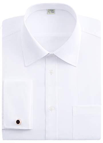 J.VER Chemises habillees pour Hommes Coupe reguliere Manchette francaise Bouton de Manchette en metal a Manches Longues - Couleur:Blanc, Taille:EU 40 - Manche 89cm, 34-35 EU Sleeve