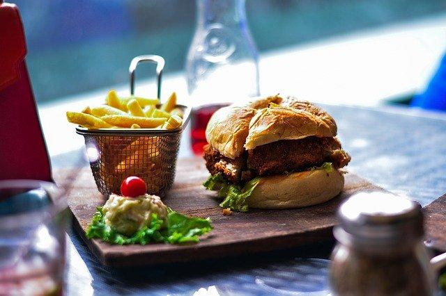 alimentaire, fries français, hamburger