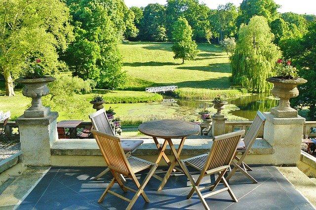 parc du château, hôtel, terrasse