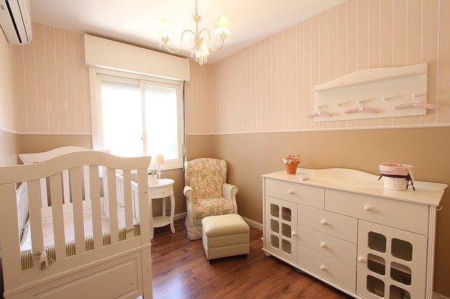 chambre à coucher, bébé, lit de bébé